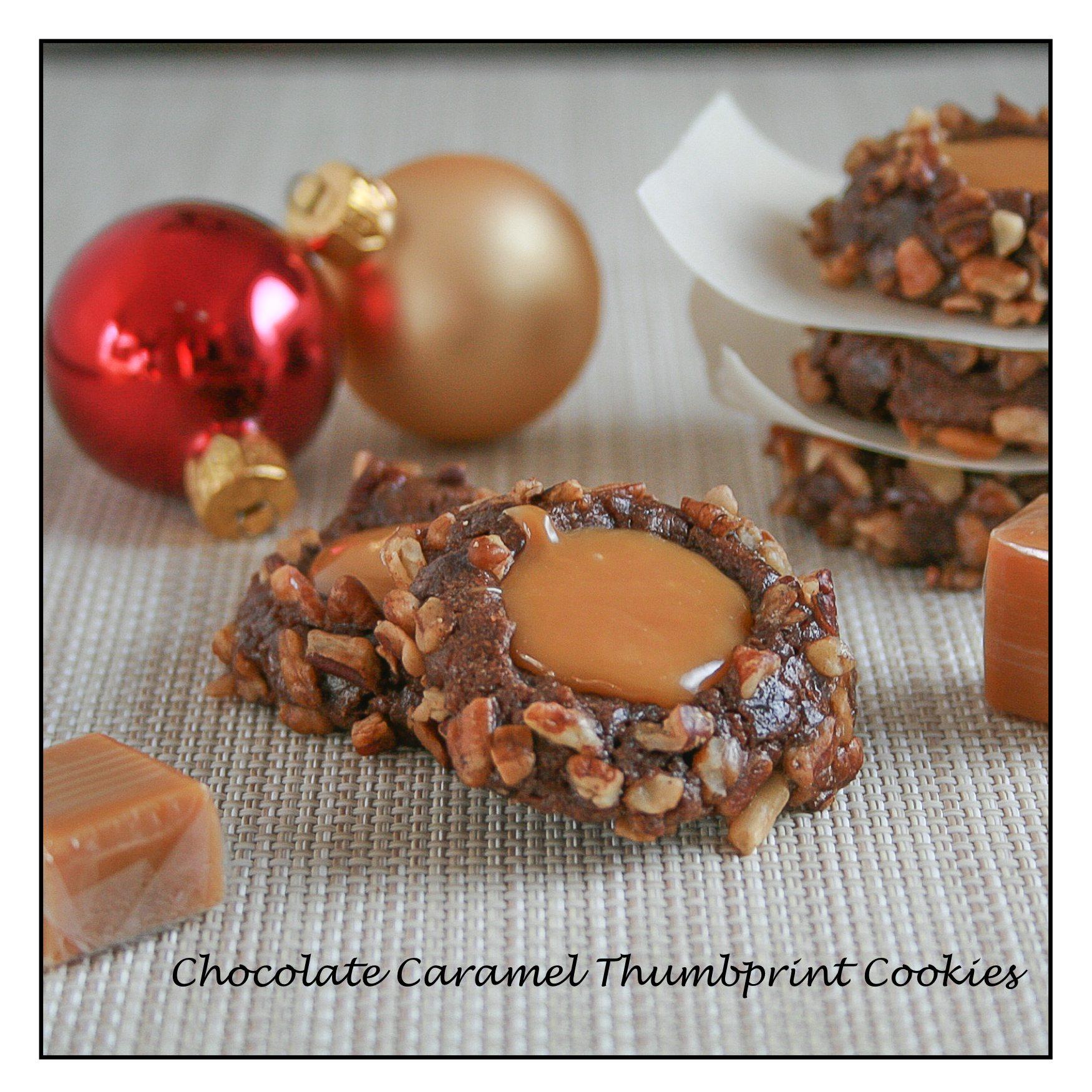 Chocolate Caramel Thumbprint Cookies