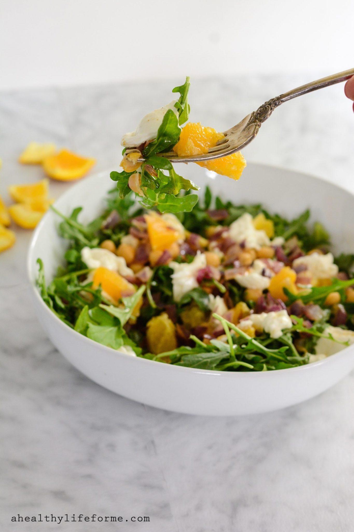 Arugula Salad with Beans and Orange Vinaigrette - A Healthy Life For ...