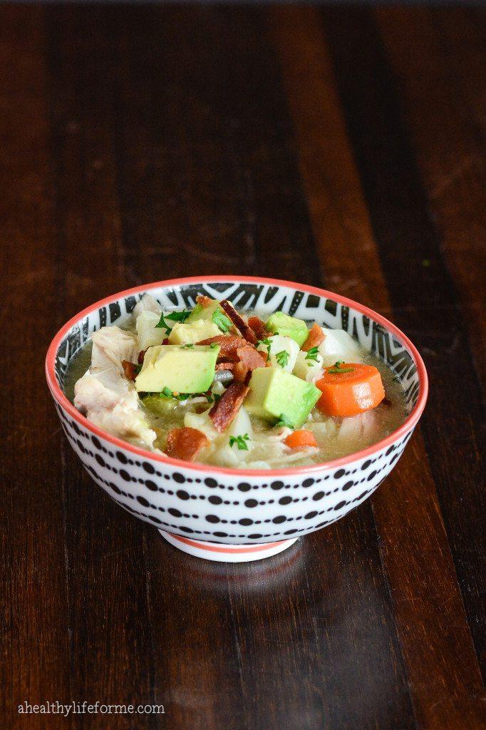 paleo cauliflower chicken chowder recipe | ahealthylifeforme.com