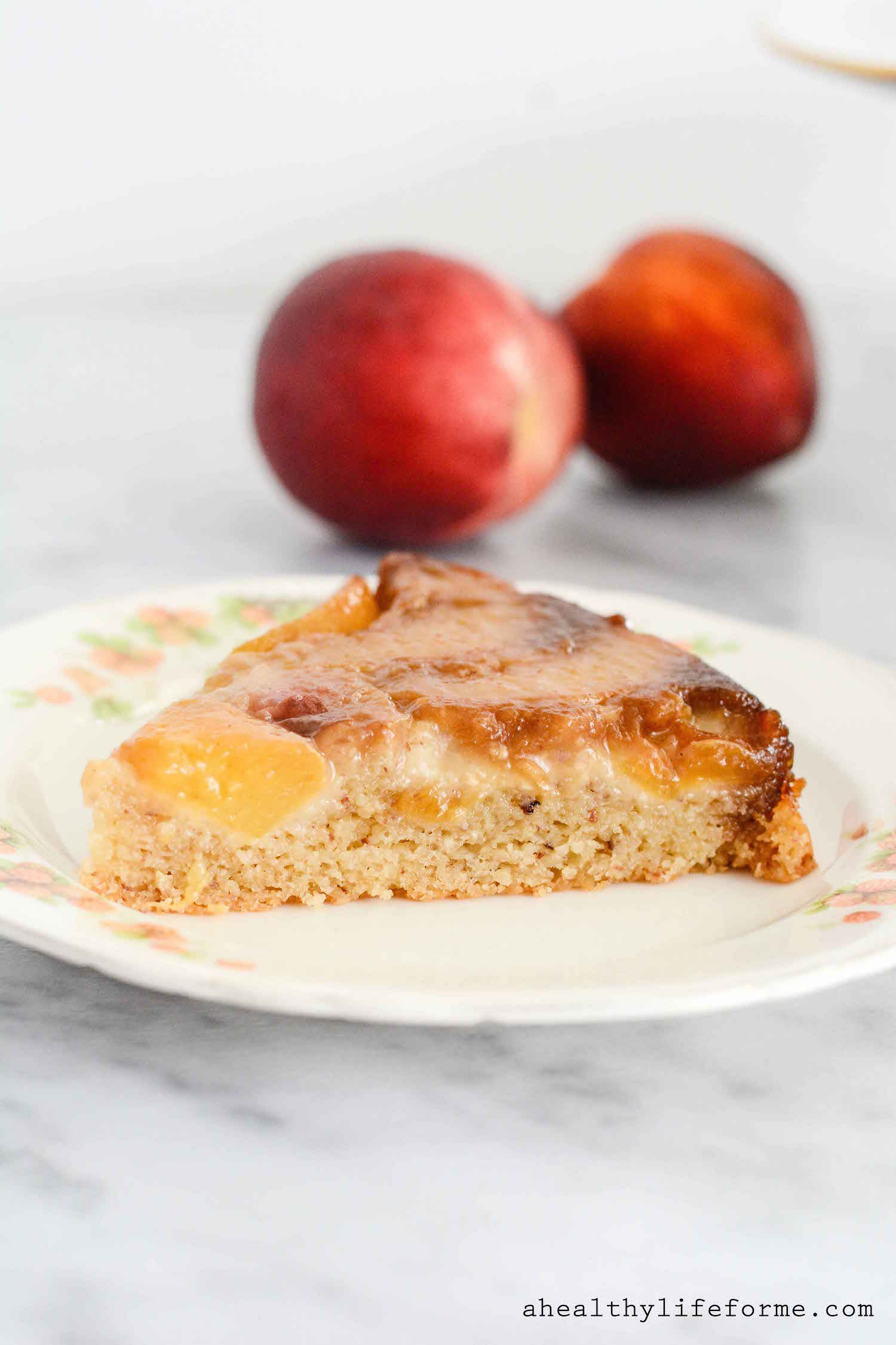 Peach Upside Down Cake {gluten free + paleo friendly} - A Healthy Life ...