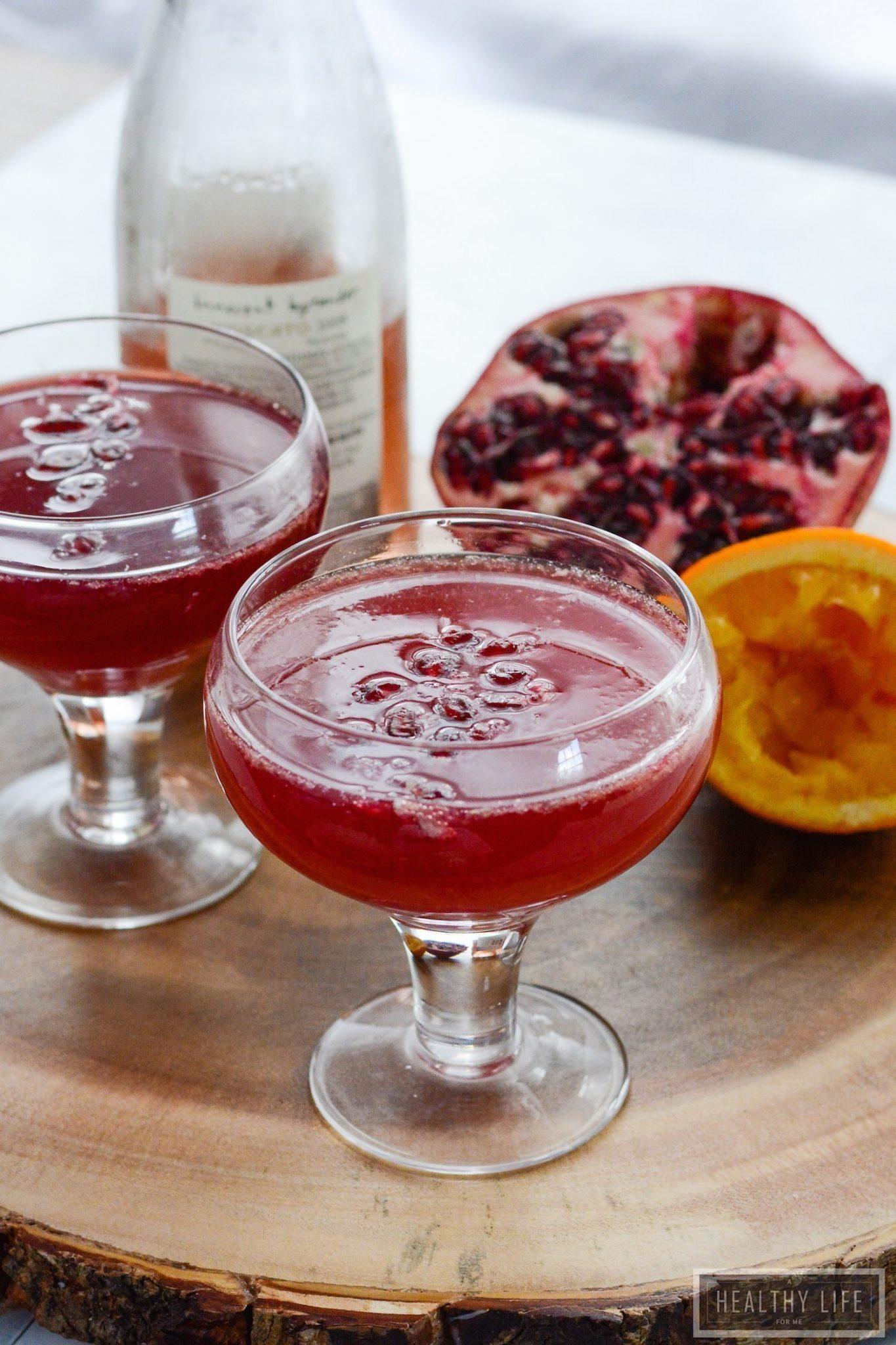 Pomegranate Orange Sparkler a fruity, tart, bubbly cocktail perfect ...