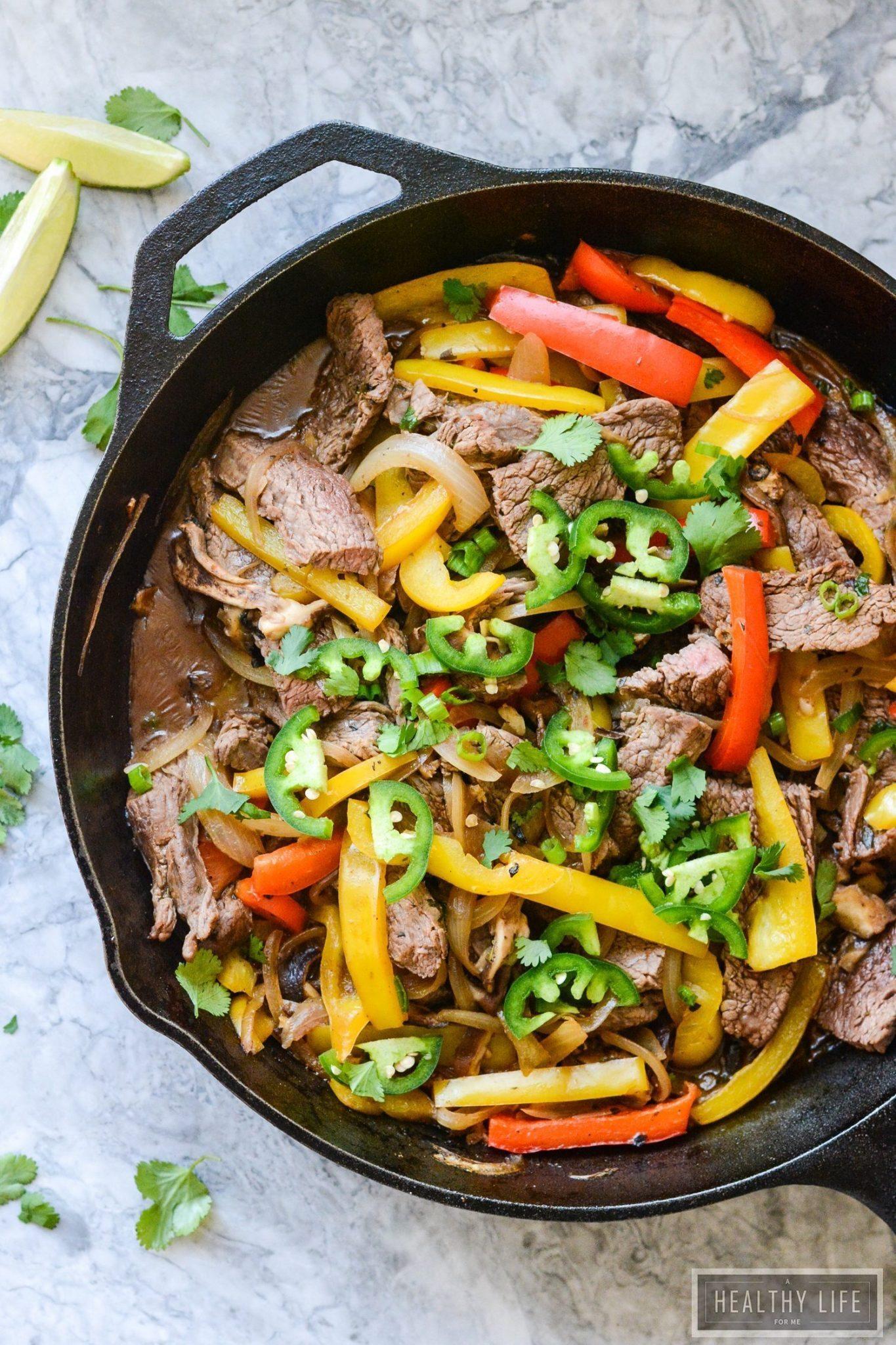 Paleo Skillet Beef Fajitas - A Healthy Life For Me