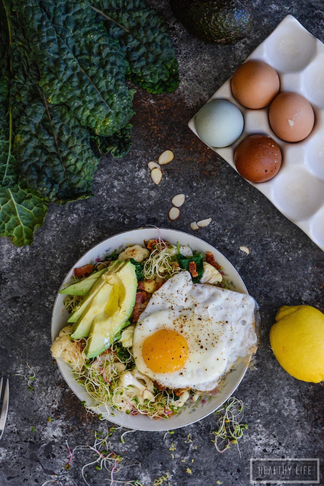 Paleo Cauliflower Avocado Egg Bowl